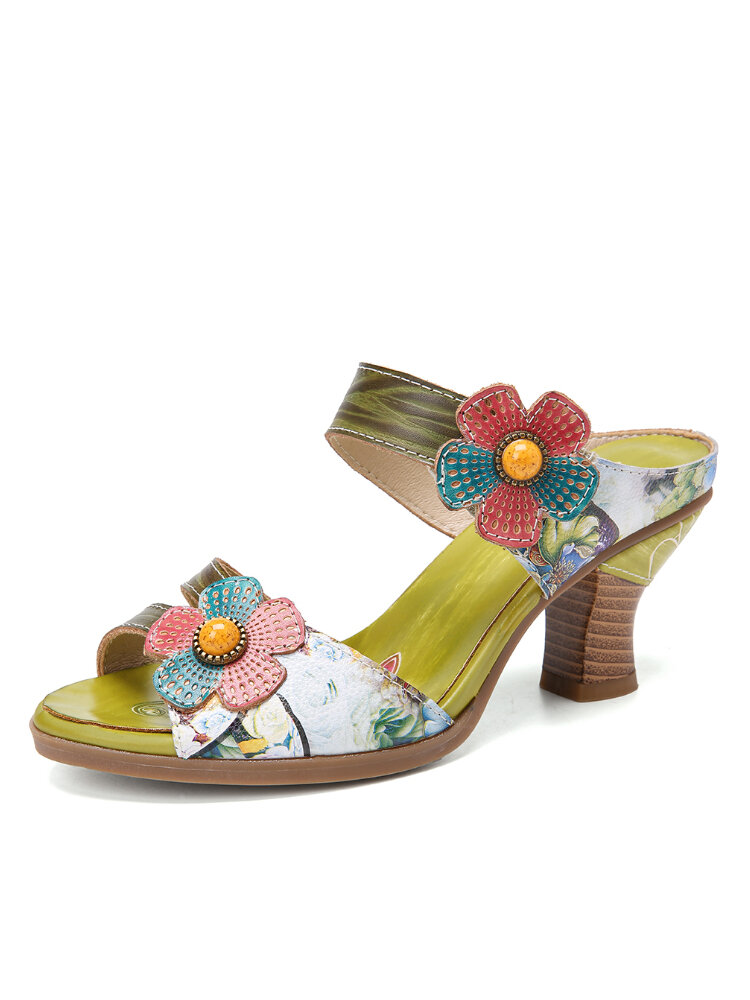 SOCOFY Retro Floral Painted Floral Slip on Mules Chunky Heel Sandals