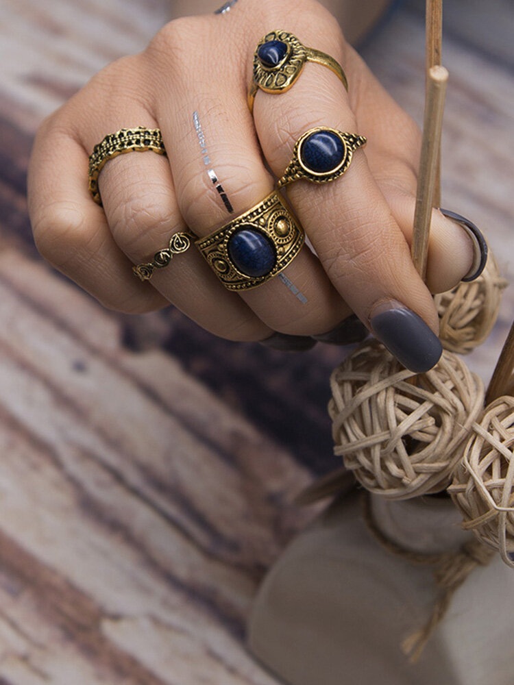 5pcs Bohemian Ring Vintage Turquoise Knuckle Ring
