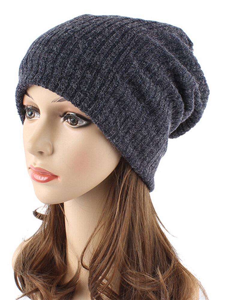 Women Autumn Winter Warm Knit Hat Outdoor Stripes Skullies Beanies Cap
