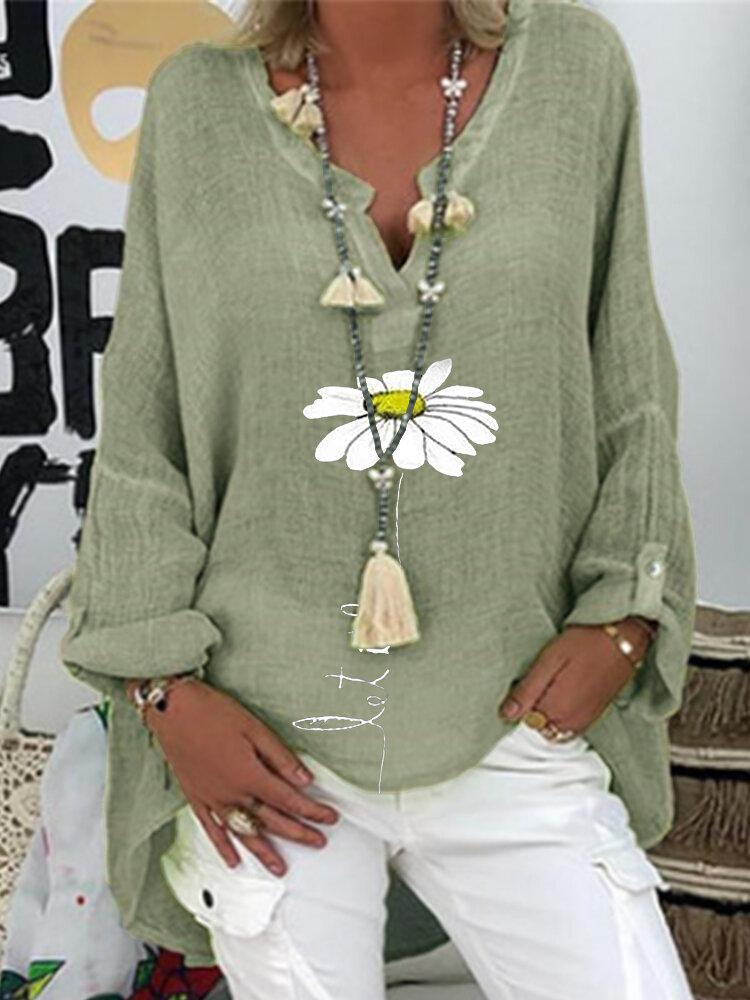 Blusa de manga larga con cuello de pico y estampado floral de margaritas