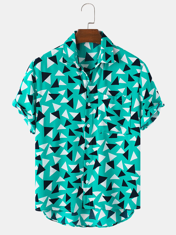 Mens All Over Triangle Geometry Pattern Short Sleeve Shirt