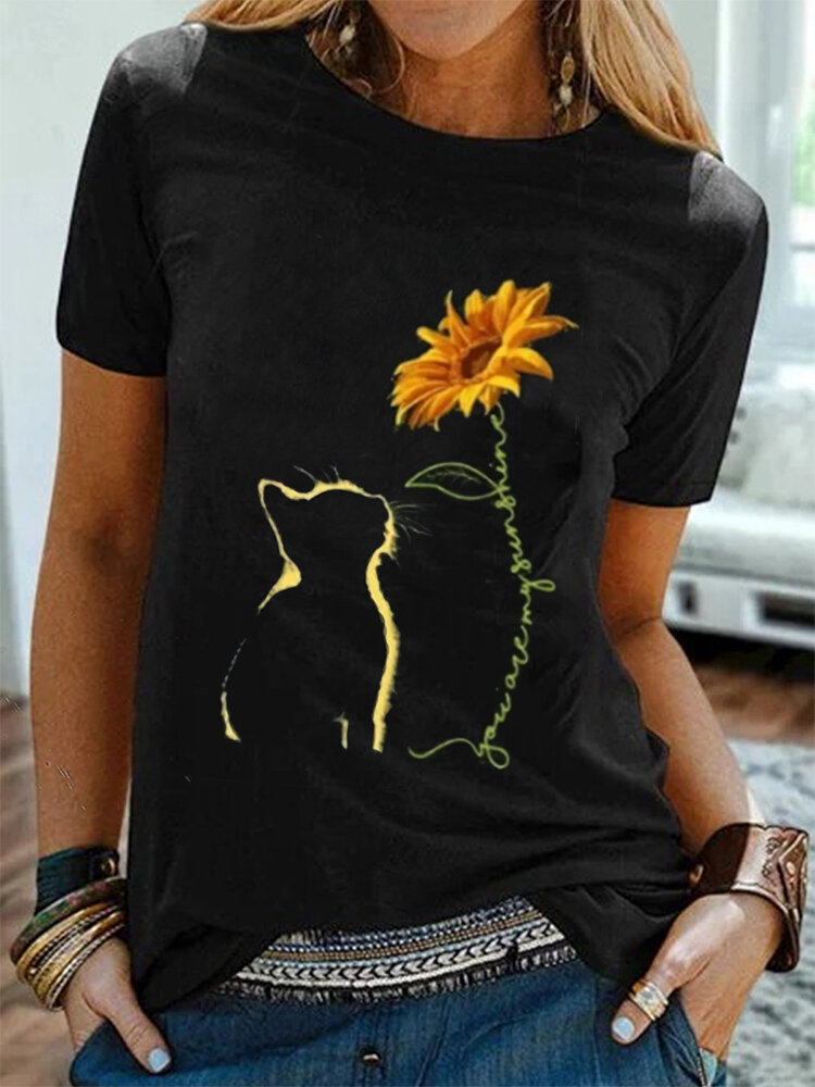 Cat And Sunflower Printed Short Sleeve Casual T-Shirt