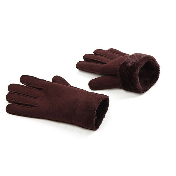 Men Women Suede Full Finger Gloves Outdoor Windproof Warm Plush Inside Wrist Mittens