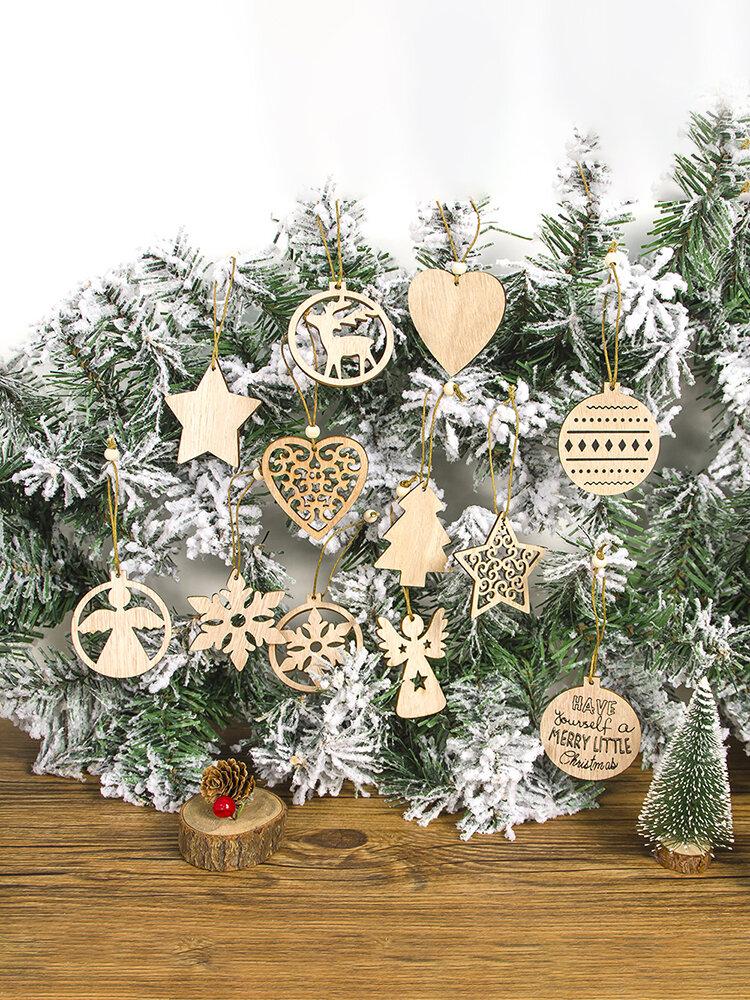 12Pcs European Hollow Christmas Snowflakes Wooden Pendants Ornament for Xmas Tree Ornament Christmas