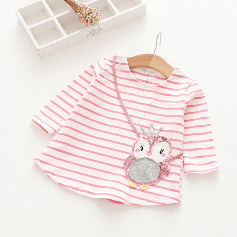 Stripe with Owl Patchwork Design Girls Long Sleeve Tops For 2-11 Years
