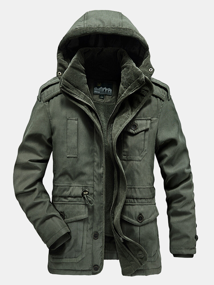 Mens Warm Fleece Lined Drawstring Waist Two-Piece Outdoor Casual Hooded Parkas