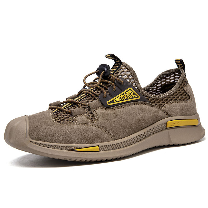 Men Mesh Leather Splicing Non Slip Elastic Lace Outdoor Casual Shoes
