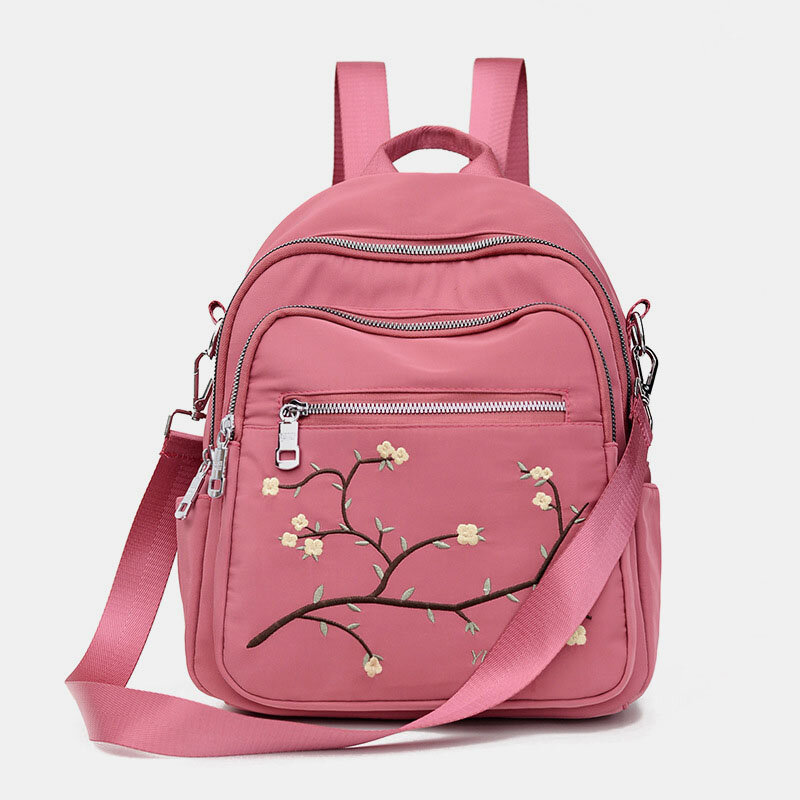 Women Nylon Embroidery Multiple-Carry Backpack