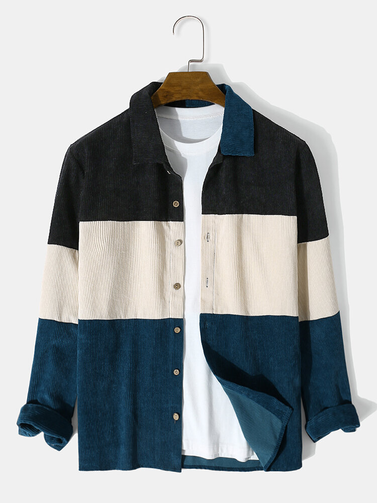 Mens Corduroy Color Block Panel Stitching Casual Long Sleeve Shirts