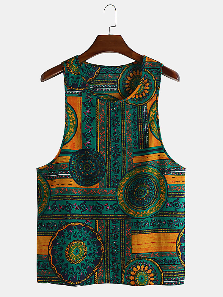 Mens 100% Cotton Ethnic Style Printed Sleeveless Thin Summer Casual Tank Tops