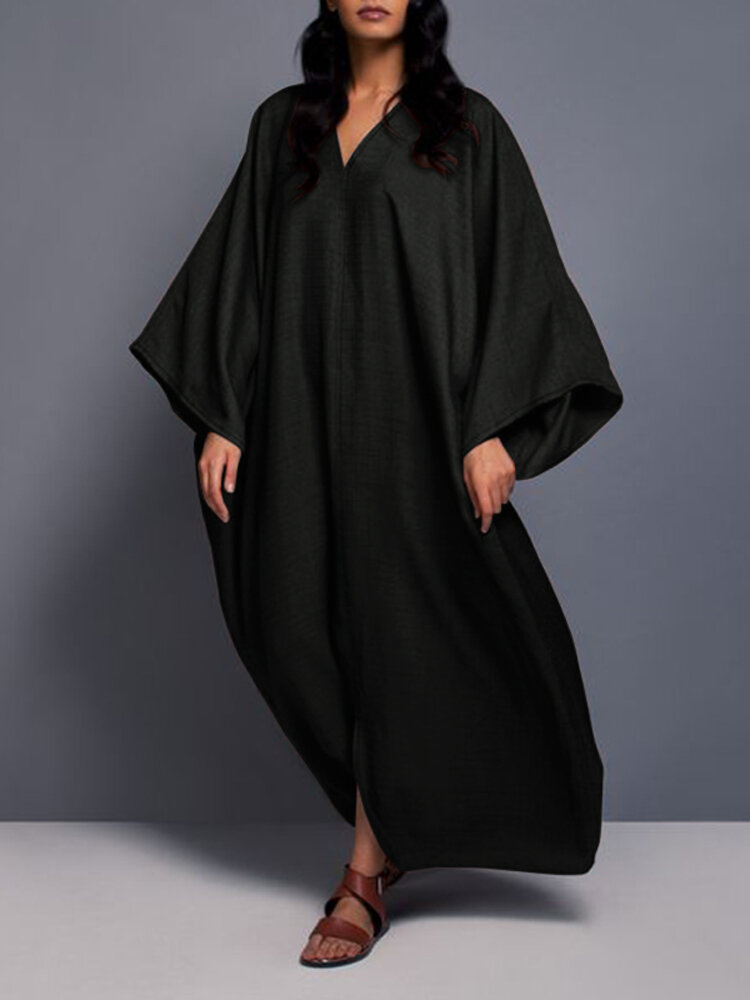 Casual Solid Color V-neck Bell Sleeve Maxi Dress