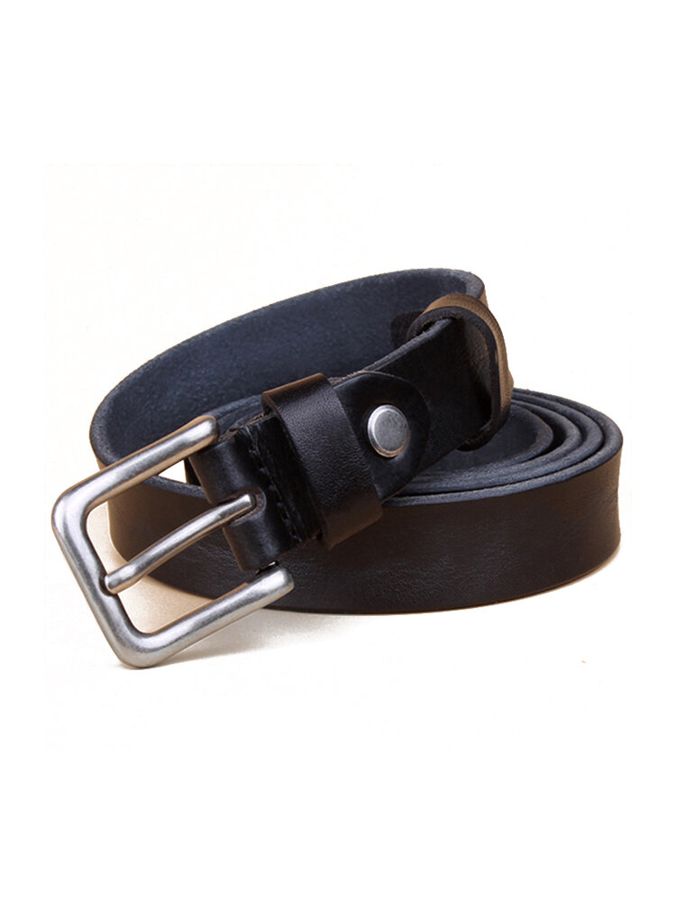 Women Retro Genuine Leather First layer Of Cowhide Belt Casual Fine Needle Pin Buckle Waistband