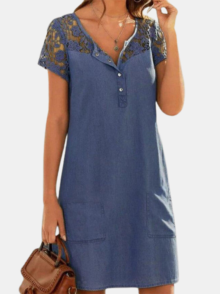 Lace Patchwork Denim Short Sleeve Solid Color Casual Dress For Women