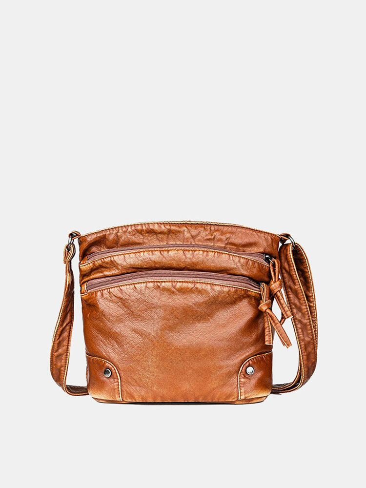 Women Solid Multi-pocket Middle-aged Crossbody Bag