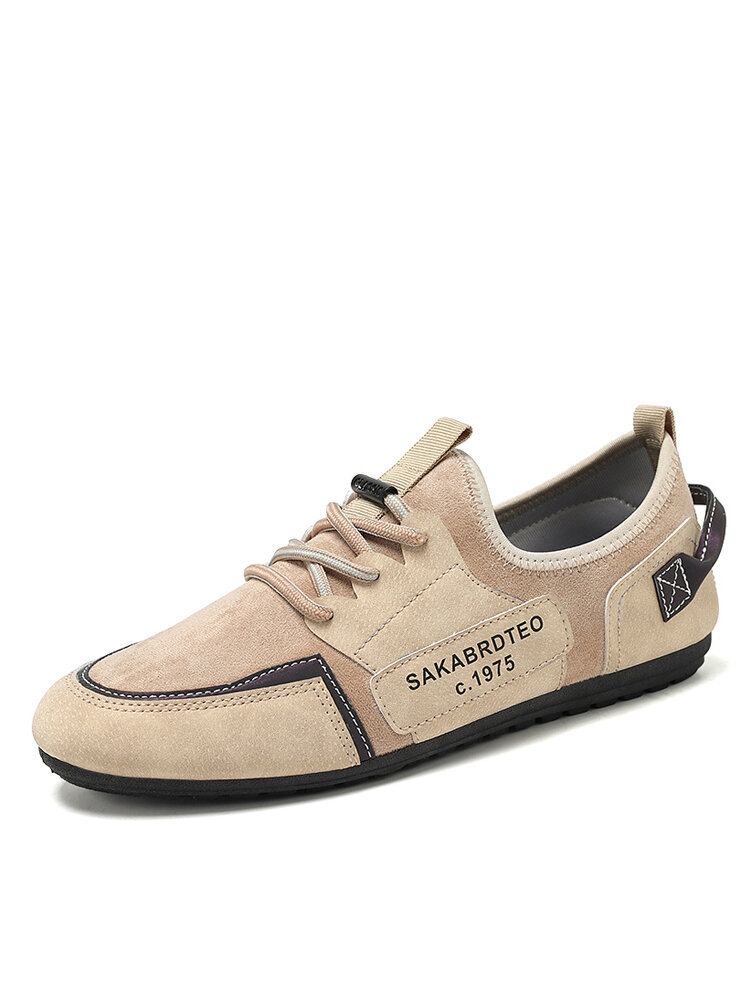Men Casual Lace-up Suede Letter Pattern Hard Wearing Driving Shoes