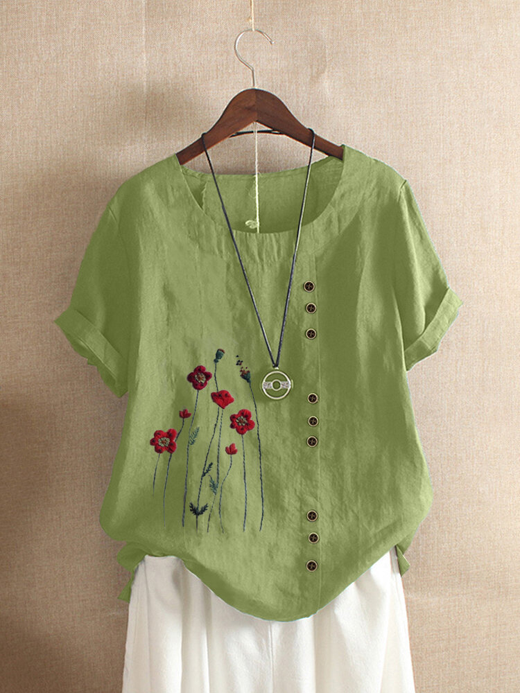 Embroidery Floral Short Sleeve O-Neck T-shirt For Women