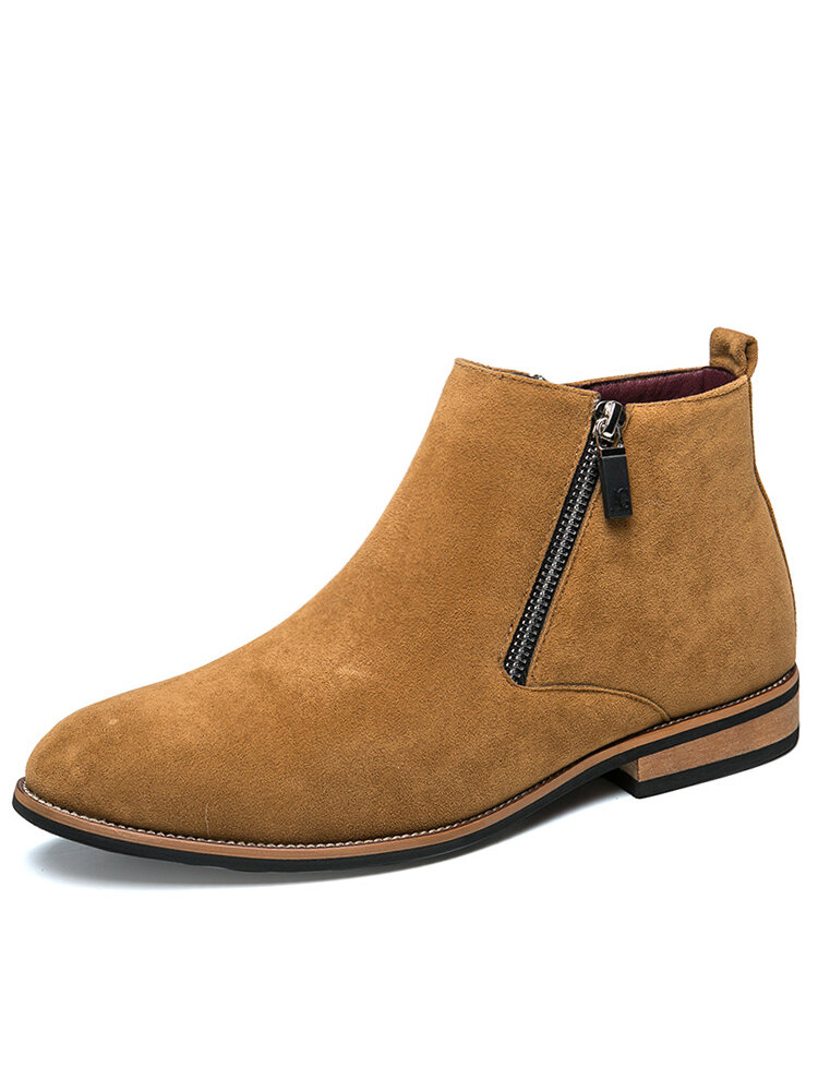 Men British Style Double Side Zipper Pointed Stylish Ankle Boots