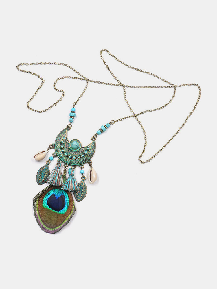 Ethnic Semicircular Crescent Turquoise Shell Pendant Necklace Peacock Feather Tassel Sweater Chain