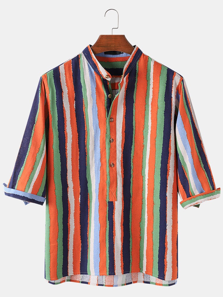 Mens Colorful Striped Oil Print Breathable Light 3/4 Sleeve Henley Shirts