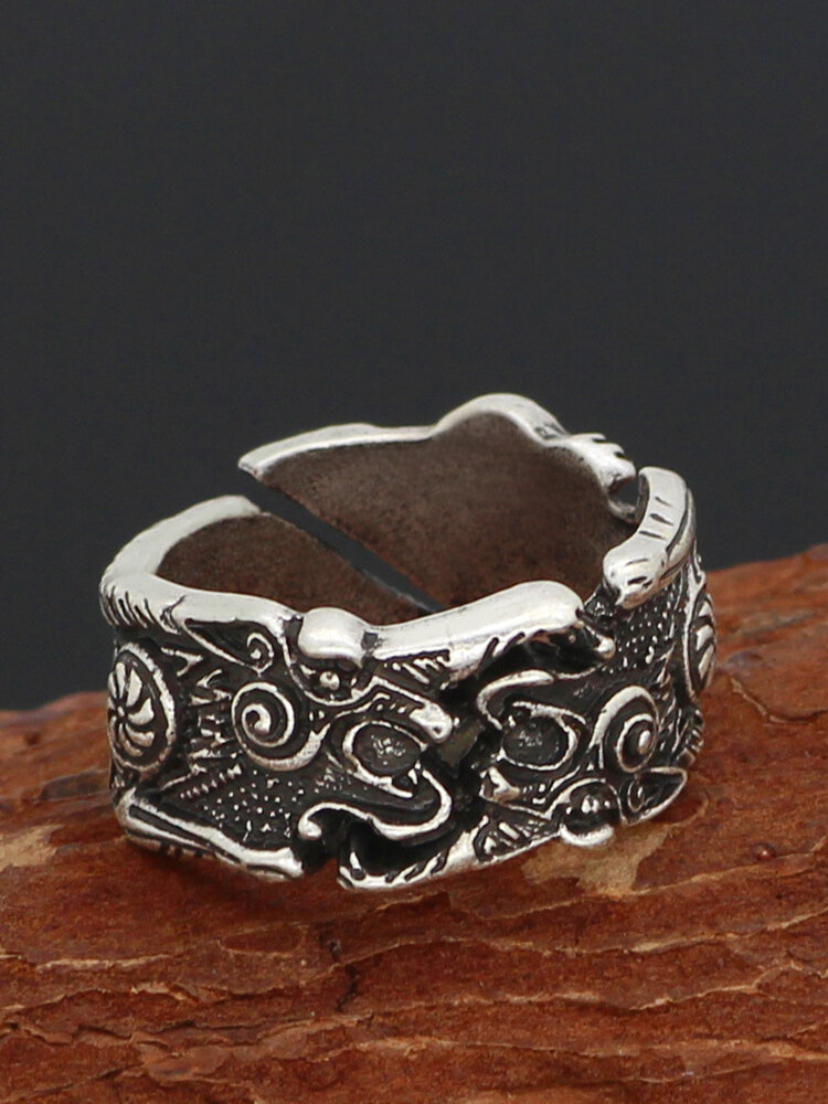 Vintage Distressed Odin Crow Carved Opening Adjustable Alloy Ring