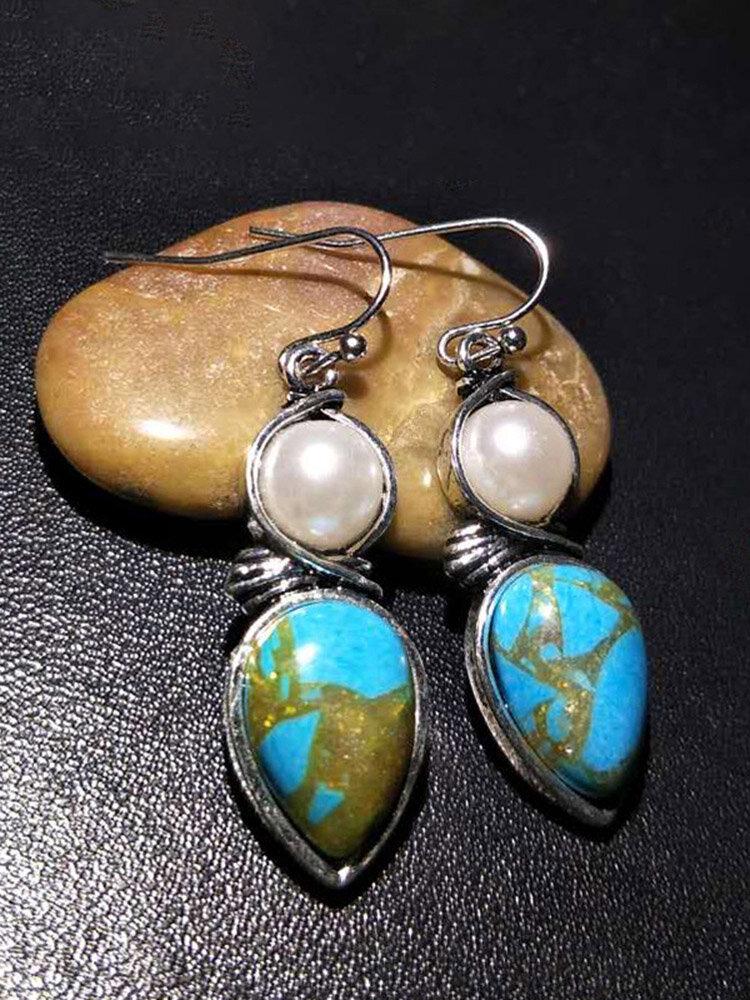Boucles d'oreilles vintage en métal perle turquoise boucles d'oreilles pendantes géométriques goutte d'eau turquoise - Newchic - Modalova