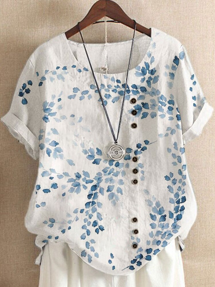 Breasted Leaves Print O-neck Short Sleeve Women Loose T-shirt