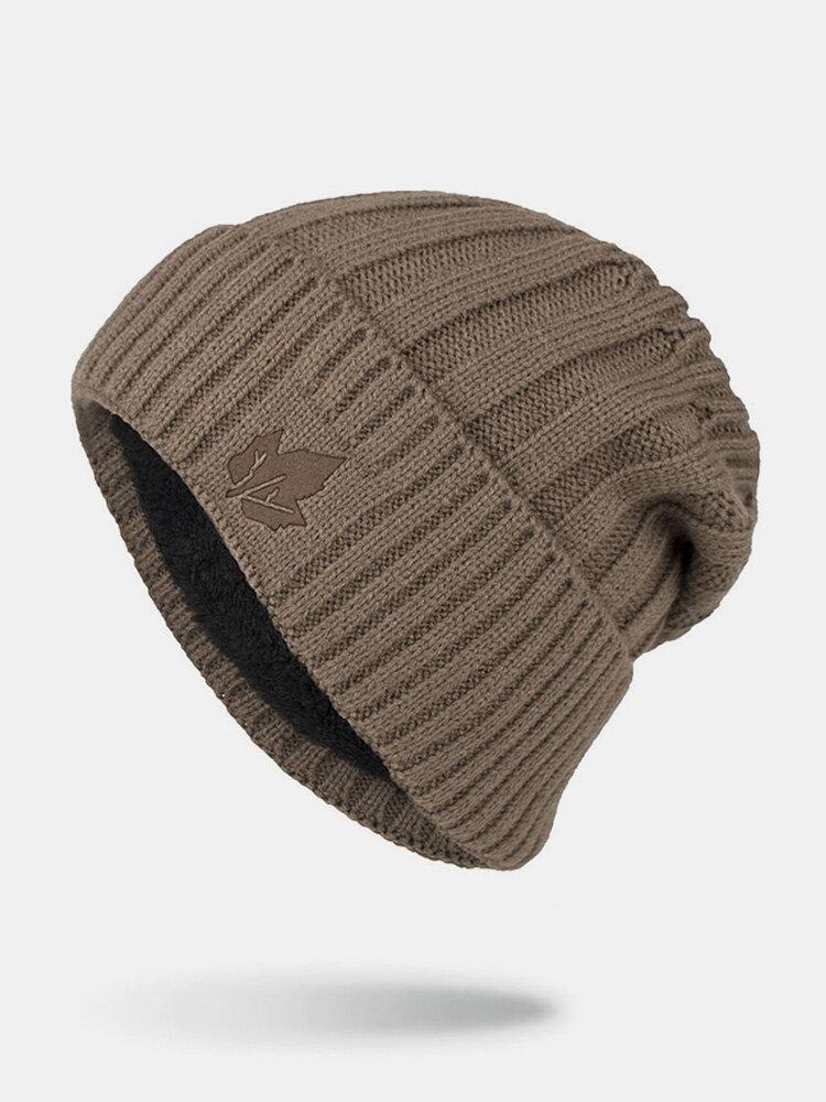 男性冬Plusベルベット刺繡葉縞模様屋外ニット暖かいビーニー帽子