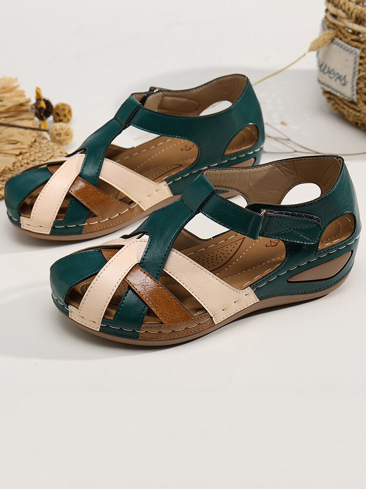 LOSTISY Women Color Block Cross Strap Comfy Wearable Casual Wedges Sandals