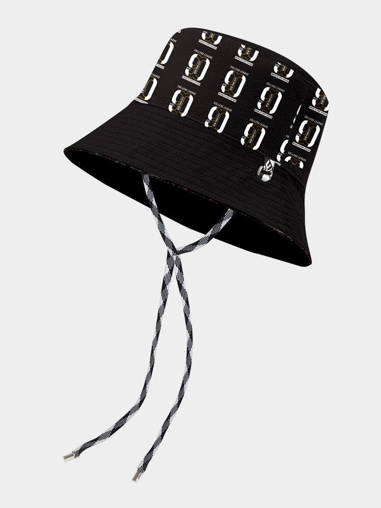 Unisex Cotton Letter Pattern Long-tie Fashion Personality Sunshade Bucket Hat