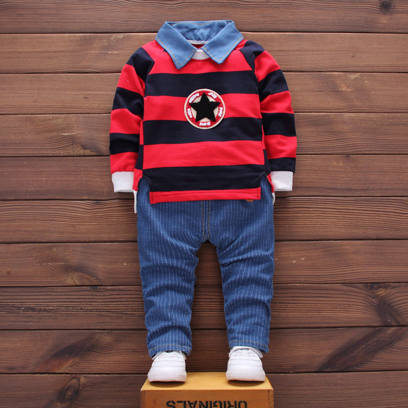 2Pcs Boys Printed Clothes Sets Striped Shirt + Long Pants For 1Y-5Y