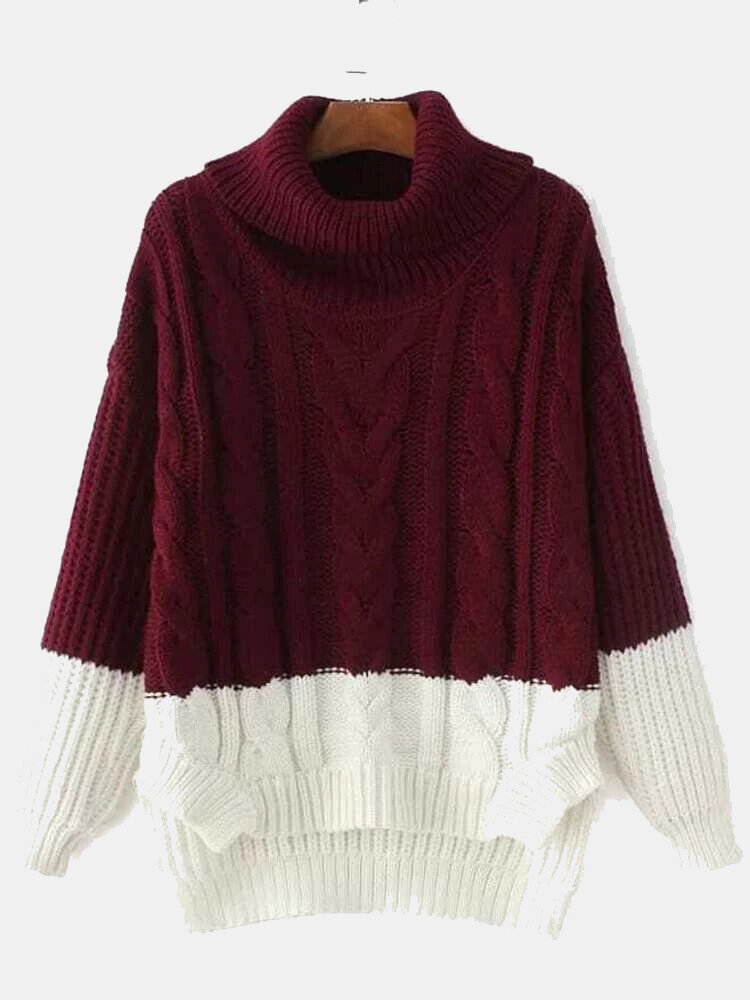 Women Contrast Color Patchwork High Neck Loose Casual Sweater