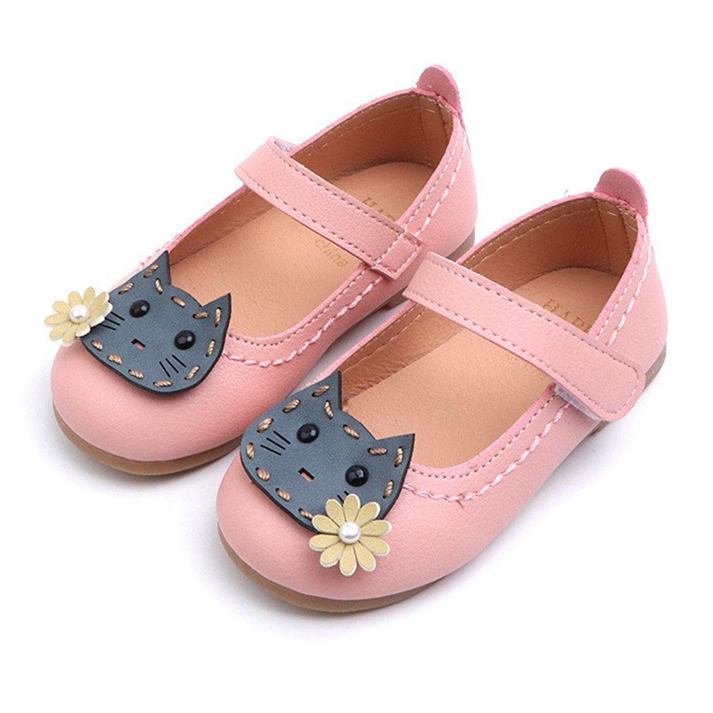 Girls Cartoon Cat Decor Hook Loop Lovely Mary Jane Shoes