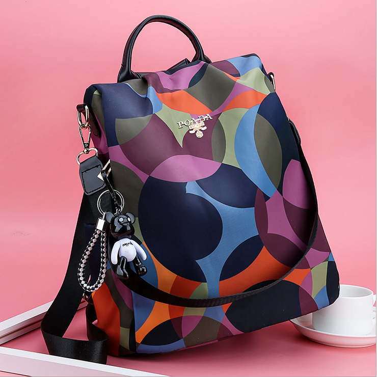 Women Waterproof Printed Nylon Anti-theft Backpack