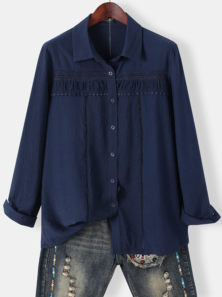 Casual Hollow-out Pleated Lapel CollarLong Sleeve Buttons Shirt