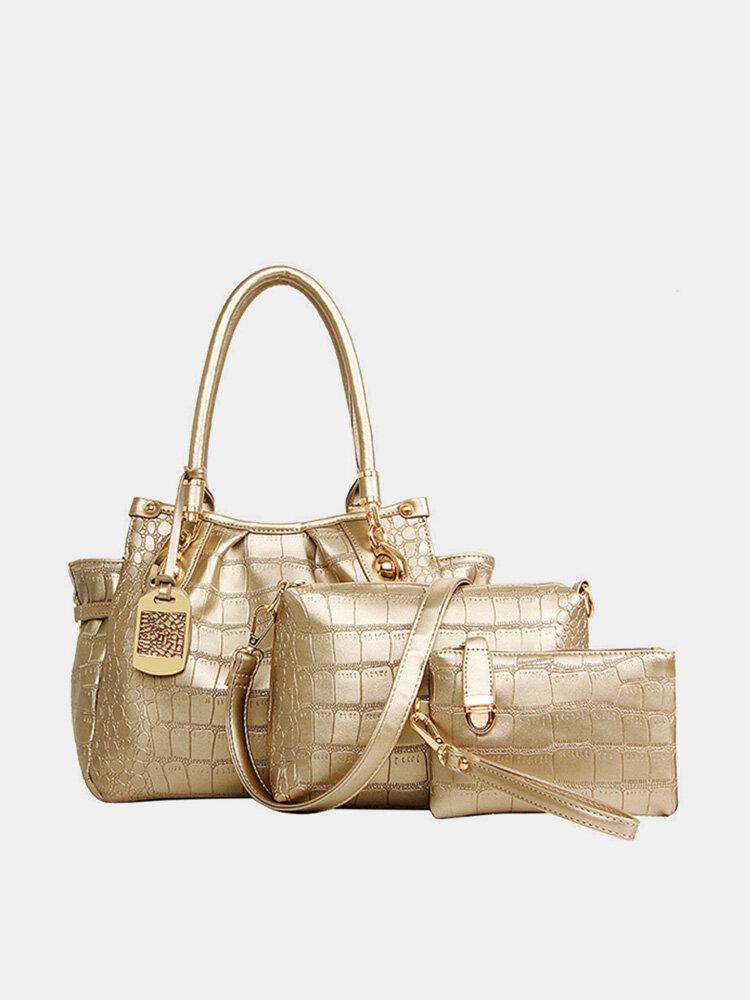 Women Stylish Alligator Pattern 3PCS Handbag Crossbody Bags Clutch Bags
