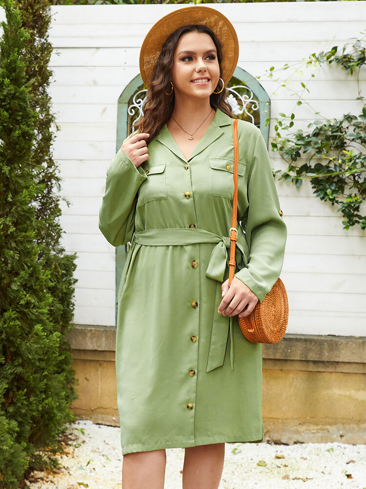 Casual Knotted Waist Long Sleeve Lapel Collar Buttons Plus Size Dress