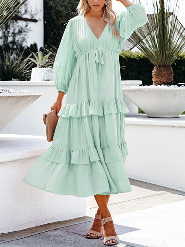 Solid Color V-neck Knotted Long Sleeve Patchwork Casual Dress