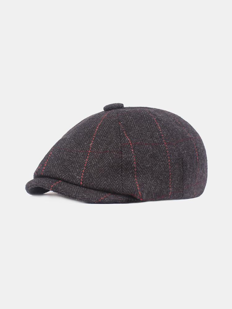 Men Vintage Stripe Thickening Adjustable Cotton Warm Breathable Comfortable Beret Cap