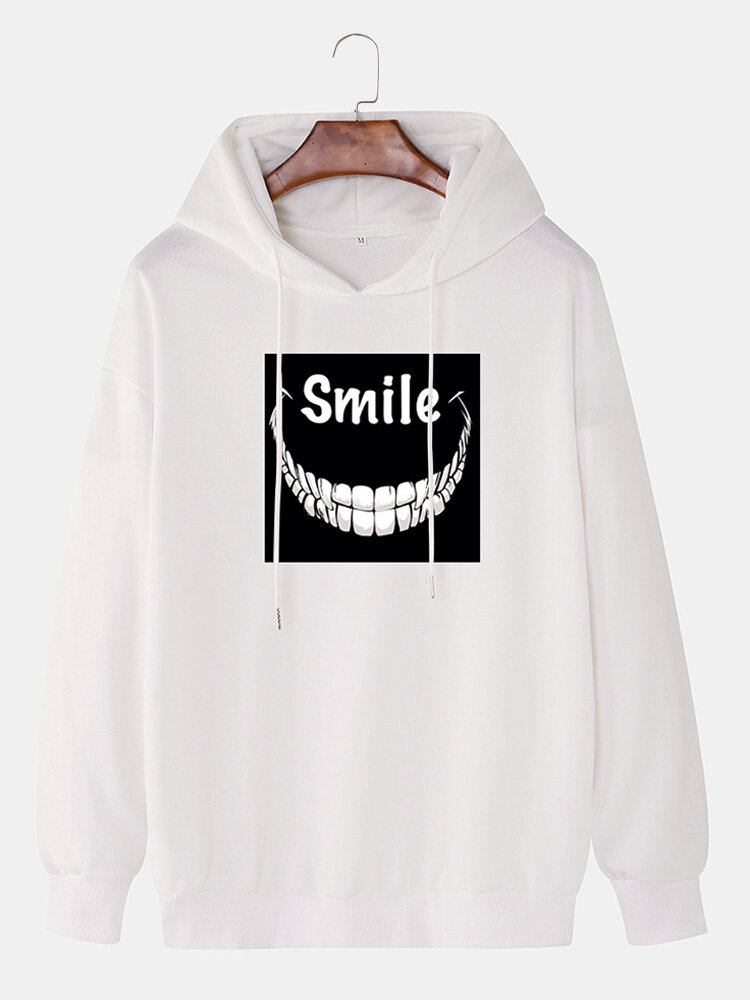 Mens Funny Letter Printing Cotton Casual Drawstring Hoodies