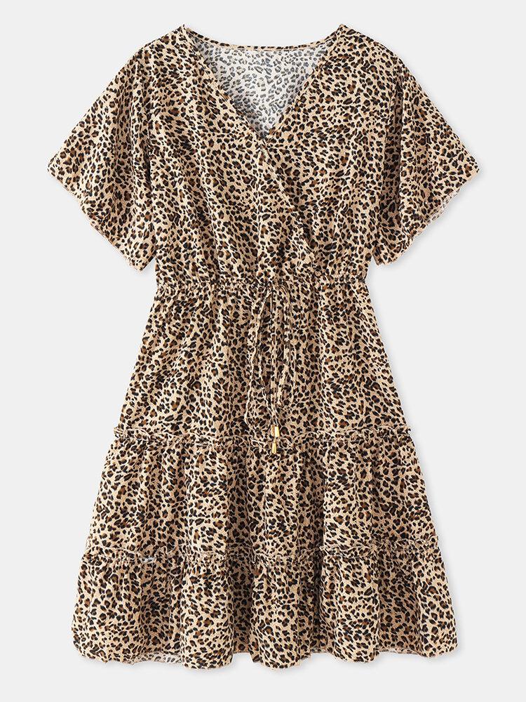 Kurzarm-Pilz-Kordelzug mit Leopardenmuster und V-Ausschnitt Damen Chiffon Kleid