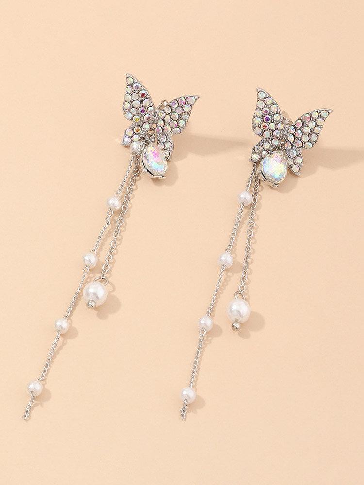 Trendy Women Silver Butterfly Earrings Diamond Mount Long Pearl Tassel Ear Drop Jewelry