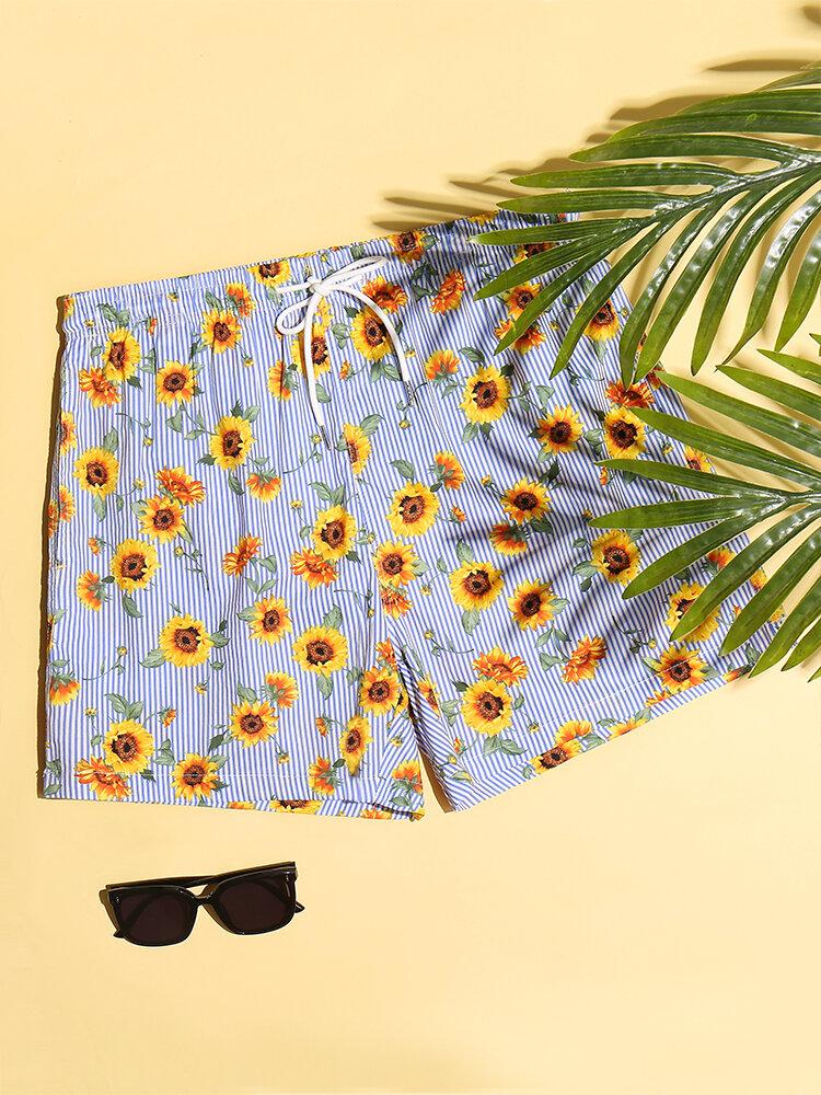 Men Sunflower Striped Print Shorts Lightweight Casual Mesh Liner Baord Shorts
