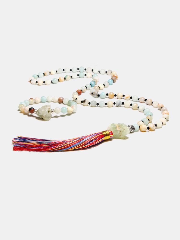 2Pcs Natural Stone Colorful Tassel Necklace Temperament Beads Bracelet