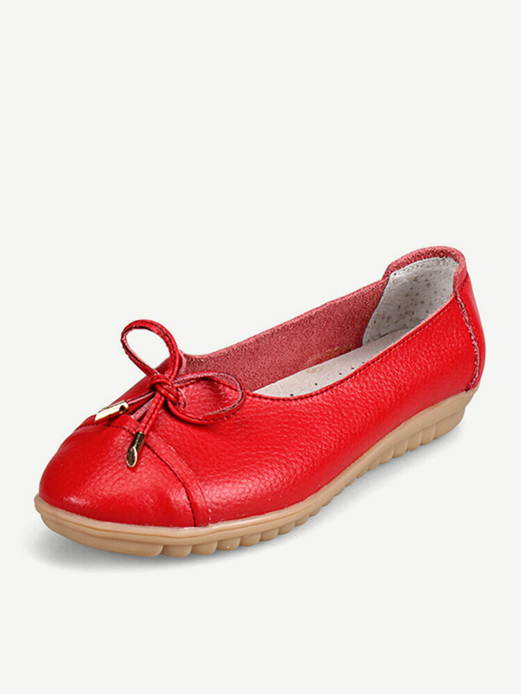 Leather Bowknot Candy Color Soft Comfortable Breathable Slip On Flat Shoes