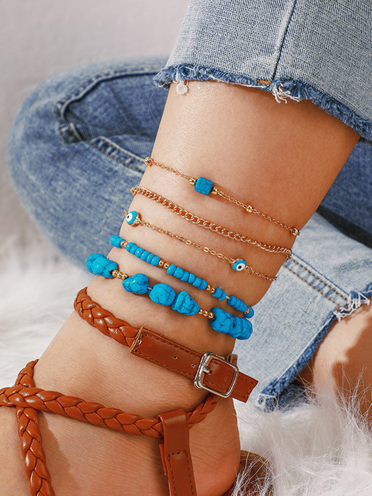 Bohemian Turquoise Multi-layer Beaded Anklet Geometric Square Turquoise Pendant Chain Anklet