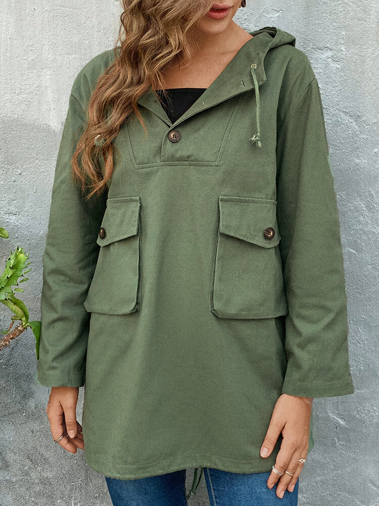 Solid Color Hooded Windcoat with Pockets