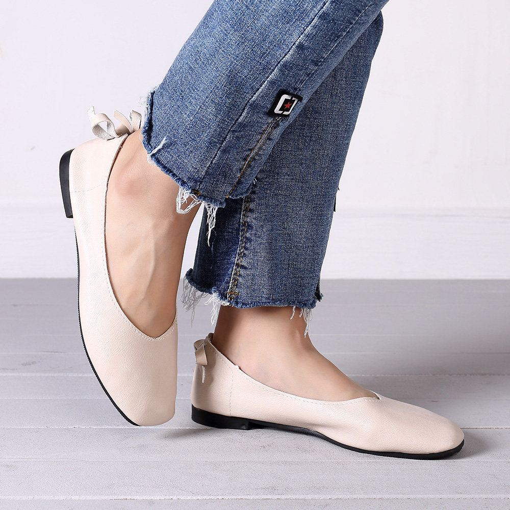 Pure Color Bowknot Slip On Flat Soft Casual Shoes