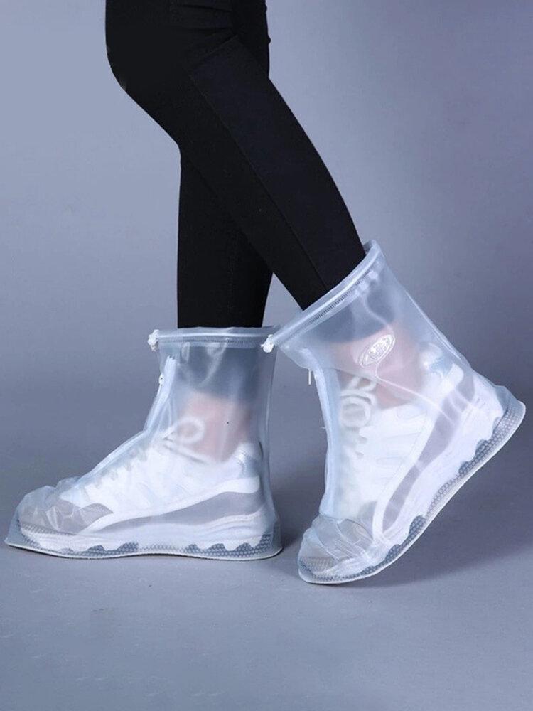 Zapatos protectores impermeables Funda para botas Unisex Cremallera Fundas para zapatos de lluvia Zapatos antideslizantes para lluvia