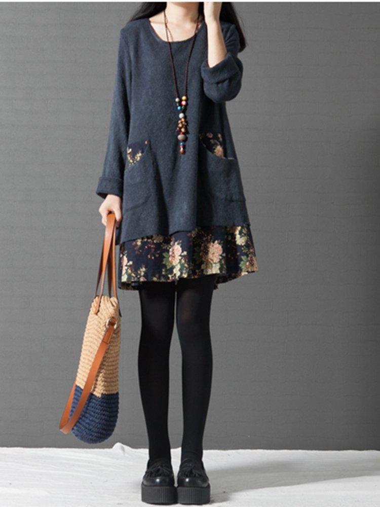 Vintage Patchwork Pocket Floral Printed Elegant Long Sleeve Dress