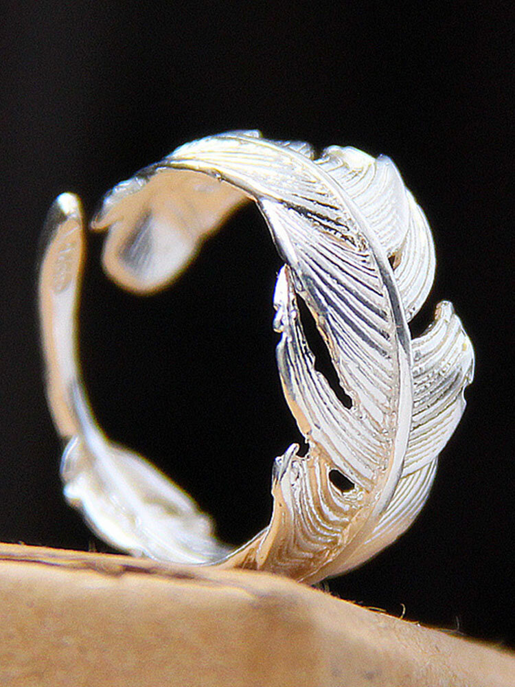 Simple 925 Silver Tail Ring Open Feather Carved Women Rings Jewelry Gift